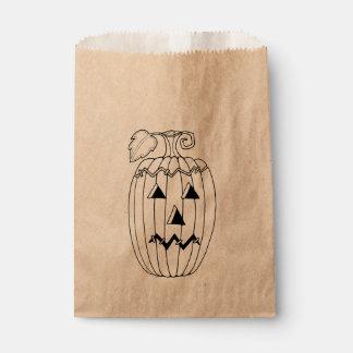 仮面舞踏会のハロウィーンのカボチャのちょうちん2の線画のデザイン フェイバーバッグ