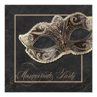 仮面舞踏会のパーティの招待状-青銅、金ゴールド及び黒 13.3 スクエアインビテーションカード