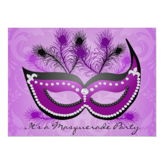 仮面舞踏会のパーティーの紫色のベニス風のマスクの招待状 カード