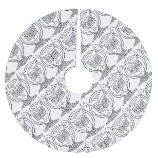 仮面舞踏会のフクロウの線画のデザイン ブラッシュドポリエステルツリースカート