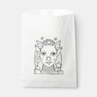 仮面舞踏会のベーコンの妖精のプリンセスの線画のデザイン フェイバーバッグ