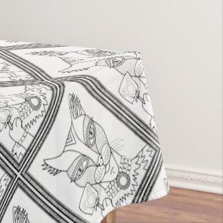 仮面舞踏会の子猫のマウスの棒つきキャンデーの線画のデザイン テーブルクロス
