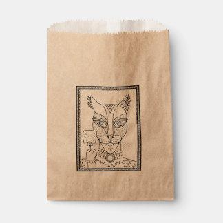 仮面舞踏会の子猫のマウスの棒つきキャンデーの線画のデザイン フェイバーバッグ