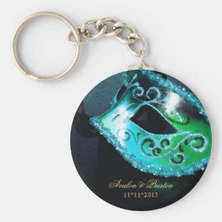 仮面舞踏会の結婚式の引き出物のティール(緑がかった色) Keychain キーホルダー