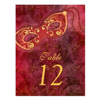 仮面舞踏会の謝肉祭の結婚式のテーブルカード ポストカード