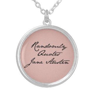 任意にジェーンAustenのネックレスを引用します シルバープレートネックレス