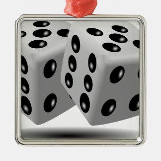 任意ゲームの賭博の立方体数運をさいの目に切ります メタルオーナメント