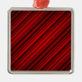 任意赤い対角線のストライプなパターン メタルオーナメント