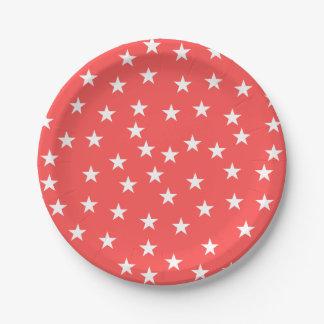 任意赤と白の星パターン紙皿 ペーパープレート