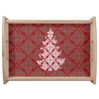 企業のでクラシックで赤いダマスク織のクリスマスツリー トレー
