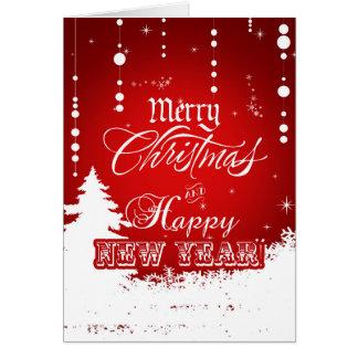 企業ので赤く白いメリークリスマスの明けましておめでとう カード