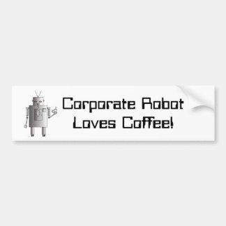 企業のなロボットはコーヒー、おもしろいなヴィンテージのレトロを愛します バンパーステッカー