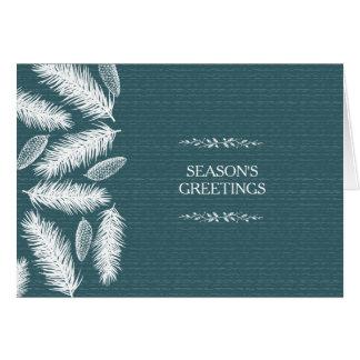 企業のな冷ややかで青いPineconeのクリスマスの休日 カード