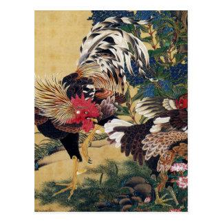 伊藤若冲、紫陽花双鶏図 はがき