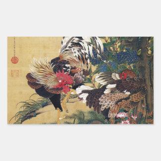 伊藤若冲、紫陽花双鶏図 長方形シール