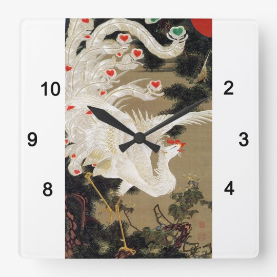 伊藤若冲『 老松白鳳図 』(ロウショウハクホウズ) , Itō Jakuchū スクエア壁時計