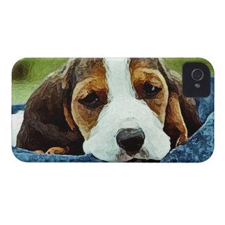 休んでいるバセット犬の子犬-白黒ブラウン Case-Mate iPhone 4 ケース