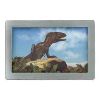 休んでいるNanotyrannusの恐竜- 3Dは描写します 長方形ベルトバックル