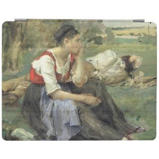 休息の小作人1877年 iPadスマートカバー