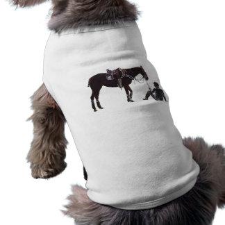 休息の馬およびライダー明白な犬のワイシャツ ペット服