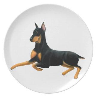 休息の(犬)ドーベルマン・ピンシェル犬のプレート パーティー皿