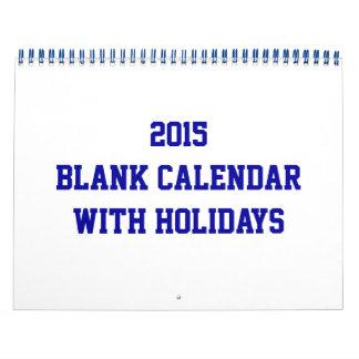 休日および青いワイヤーが付いている2015空白のなカレンダー カレンダー
