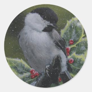 休日か季節的なステッカー: 雪の鳥の《鳥》アメリカゴガラ ラウンドシール