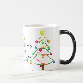 休日によって飾られる木のクリスマスのユーモラスなマグ マジックマグカップ