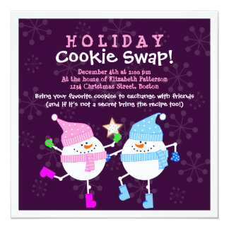休日のクッキーの交換の幸せな雪だるまの招待状 カード