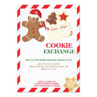 休日のクッキー交換交換の招待状 カード