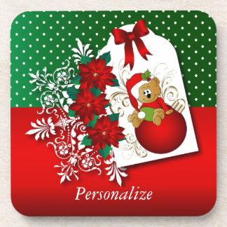 休日のクリスマスくま コースター
