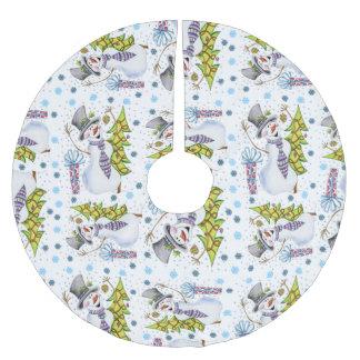 休日のクリスマスの雪だるまの木のスカートのおもしろいパターン ブラッシュドポリエステルツリースカート