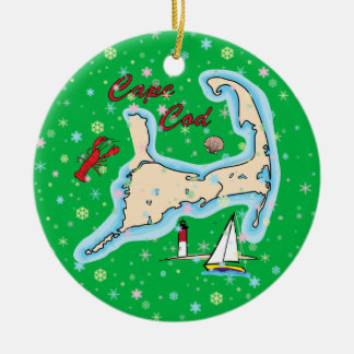 休日のケープコッドの地図のロブスターのヨットの雪片 セラミックオーナメント