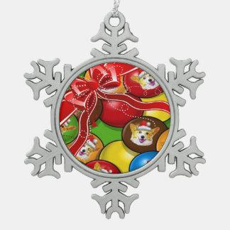 休日のコーギーキャンデー スノーフレークピューターオーナメント