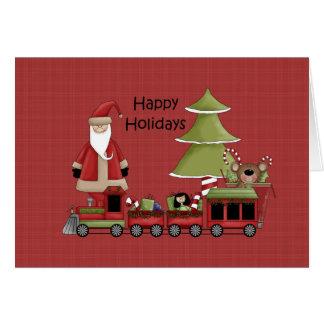 休日のサンタの幸せな列車 カード