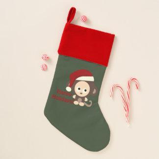 休日のサンタ幸せな猿 クリスマスストッキング