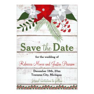 休日のチャーム-冬またはクリスマスの保存日付 カード