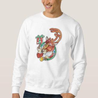 休日のトナカイのクリスマスのジャンパーのまばたき スウェットシャツ