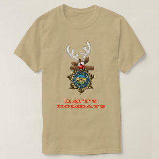 休日のトナカイのレノ幸せなネバダの警察 Tシャツ