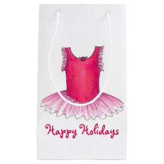 休日のバレエのダンスの先生のクリスマスのギフトバッグ スモールペーパーバッグ