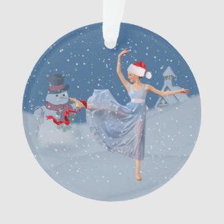 休日のバレエのファンタジー、バレリーナおよび雪だるま オーナメント