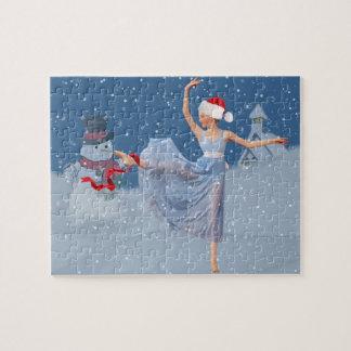 休日のバレエのファンタジー、バレリーナおよび雪だるま ジグソーパズル