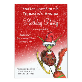 休日のパーティの招待状-小妖精や小人の乗馬のそり(赤い) カード