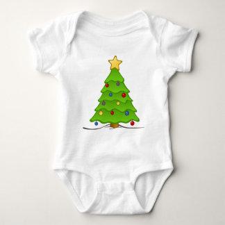 休日のフード付きスウェットシャツのCjristmasのTシャツのクリスマスの木 ベビーボディスーツ