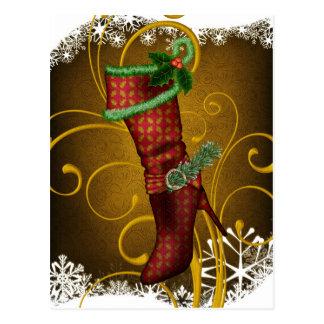 休日のブーツのクリスマスの郵便はがき ポストカード