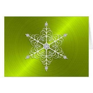 休日のライムグリーンの敏感な雪片 カード