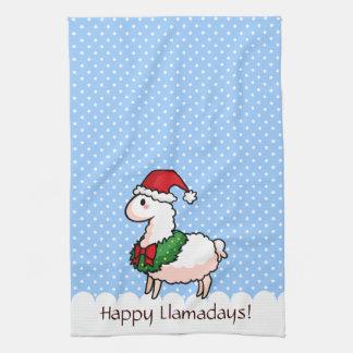 休日のラマの小妖精や小人 キッチンタオル