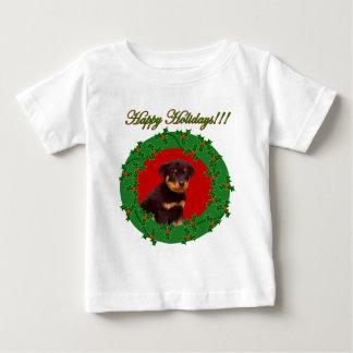 休日のロットワイラーの乳児のワイシャツ ベビーTシャツ