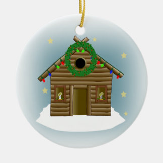 休日の丸太小屋のクリスマスのための家 セラミックオーナメント