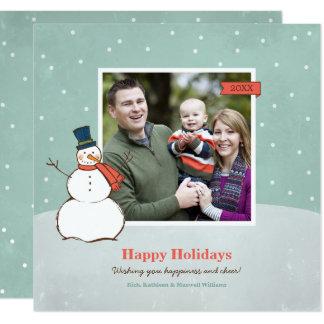 休日の写真カード|冬の雪だるま カード